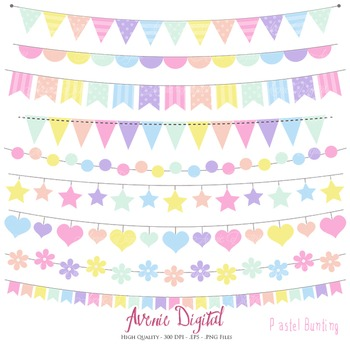 Pastel Rainbow Bunting Banner Clipart Scrapbook Vector Colorful Party Clip art