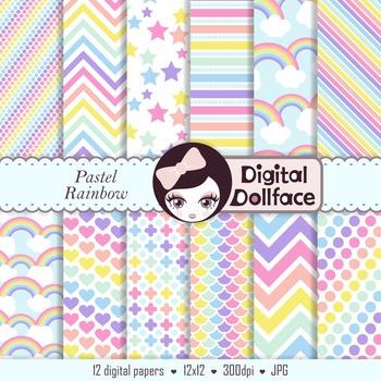 Pastel Rainbow Digital Paper / Background Pattern
