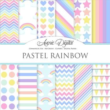 Pastel Rainbow Digital Paper Pattern Background Sky multicolor polkadots stripes