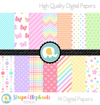 Pastel Rainbow Digital Papers