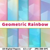 Pastel Rainbow Geometric Digital Paper, Low Poly Scrapbook Paper, Background