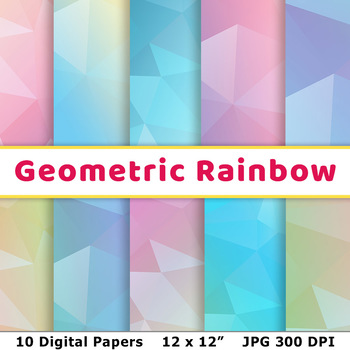 Pastel Rainbow Geometric Digital Paper, Low Poly Scrapbook Paper, Background