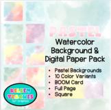 Pastel Rainbow Watercolor Background Border Frame | Digital Paper | (Boarder)