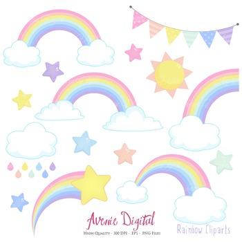 Pastel Rainbows Clipart Scrapbook printable Spring Vector clip art rainbow party