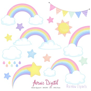 Pastel Rainbows Clipart Scrapbook printable Spring Vector