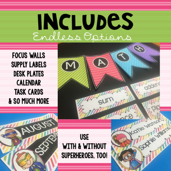 Pastel SUPERHERO Classroom Decor: Editable Labels, Banners, & Desk Plates