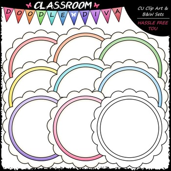 Pastel Scalloped Circles Clip Art - Message Boards - Frames Clip Art & B&W Set