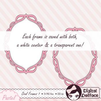 Pastel Scalloped Oval Frames Clipart / Doodle Clip Art