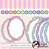 Pastel Scalloped Oval Frames Clipart / Doodle Clip Art