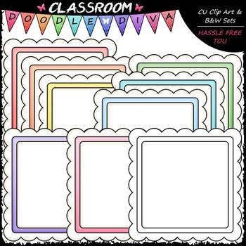 Pastel Scalloped Squares Clip Art - Message Boards - Frames Clip Art & B&W Set