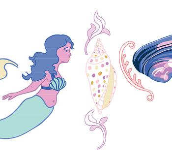 Pastel Sea Shells & Mermaids Clip Art, mermaid clipart, seashell clipart