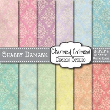 Pastel Shabby Damask Digital Paper 1487