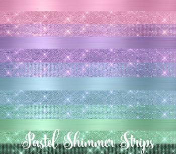Pastel Shimmer Strips Clipart, diamond sparkle glitter borders, png overlays