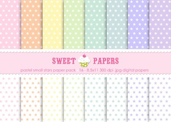 Pastel Small Stars Digital Paper Pack - by Sweet Papers