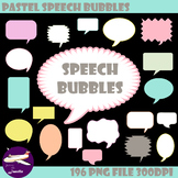 Pastel Speech Bubble Clip Art for Sellers, Bulletin Boards and More