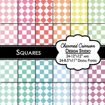 Pastel Squares Digital Paper 1284