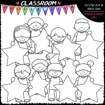 Pastel Star Students Clip Art - Star Kids Clip Art & B&W Set