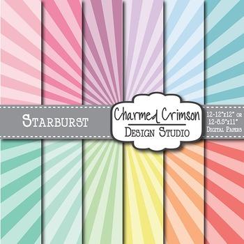 Pastel Starburst Digital Paper 1367