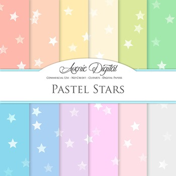 Pastel Stars Digital Paper patterns soft colors star scrapbook background