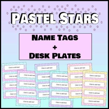 Pastel Stars Editable Name Tags + Desk Plates