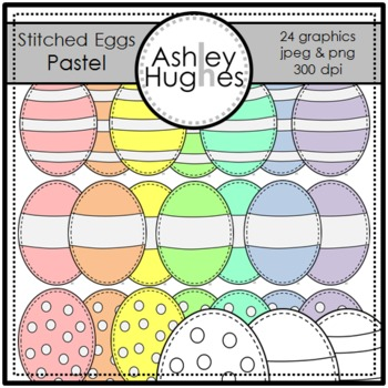 Pastel Stitched Eggs {Graphics for Commercial Use}