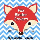 Pastel Stripe and Chevron Fox Binder Covers (EDITABLE)