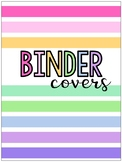 Pastel Rainbow Striped Binder Covers