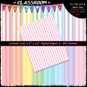 Pastel Stripes 1 - 16 CU 8.5x11 Digital Papers