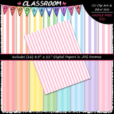 Pastel Stripes 1 - 16 CU 8.5x11 Digital Papers