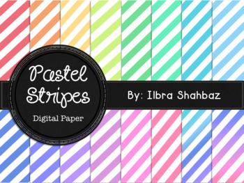 Pastel Stripes Digital Paper Backgrounds