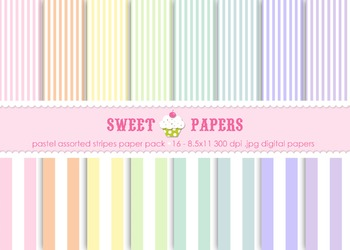 Pastel Stripes Digital Paper Pack - by Sweet Papers