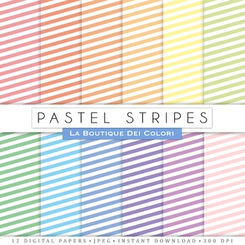 Pastel Stripes Digital Paper, scrapbook backgrounds
