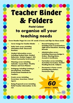 Colourful Pastel Teacher Binder Cover and Document Bundle - Australian Teachers