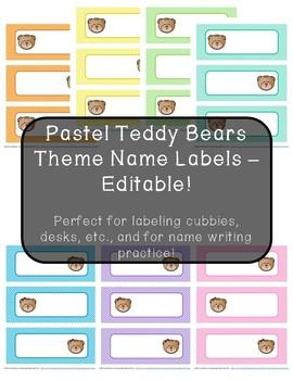 Pastel Teddy Bears Theme Name Labels - Editable!