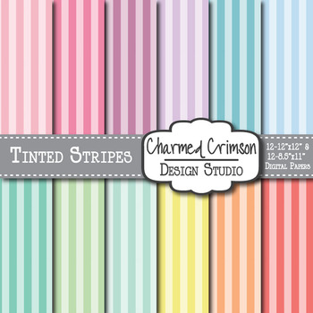 Pastel Tinted Stripes Digital Paper 1045