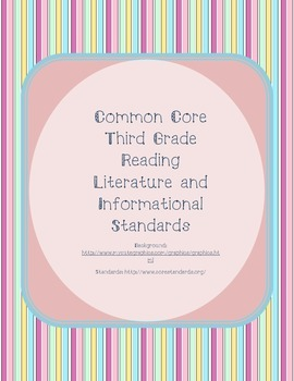 Pastel Vertical Striped Third Grade Reading Standards