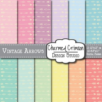 Pastel Vintage Arrow Digital Paper 1449
