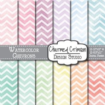 Pastel Watercolor Chevrons Digital Paper 1503