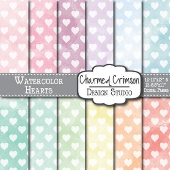 Pastel Watercolor Hearts Digital Paper 1508
