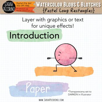 Pastel Watercolor Long Rectangles Clip Art