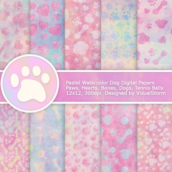 Pastel Watercolor Paw Prints Digital Paper, 10 Handmade Dog Backgrounds