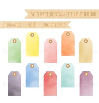 Pastel Watercolor Tags Clip Art, Label Clip Art, Pink, for