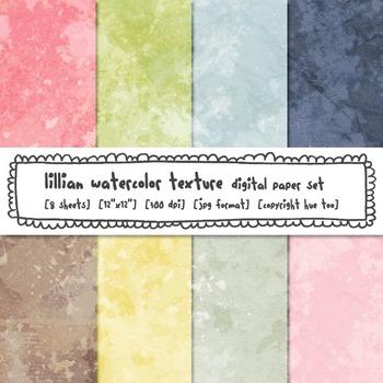 Pastel Watercolor Texture Digital Paper, Pink, Brown, Yellow, Blue, Green