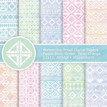 Pastel Watercolor Tribal Digital Paper, 10 Handmade Tribal Backgrounds