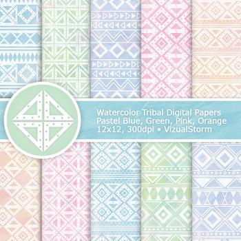Pastel Watercolor Tribal Digital Paper, 10 Handmade Tribal