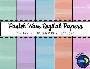 Pastel Wave Digital Papers - 5 Colors