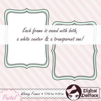 Pastel Whimsy Frames Bundle, Chevron, Stripe, Polka Dot Frame Clipart