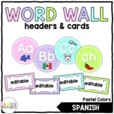 Pastel Word Wall Headers & Editable Word Wall Cards