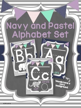 Pastel and Navy Stripes Classroom Alphabet