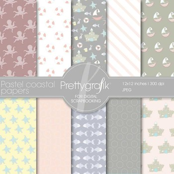 Pastel coastal digital paper, commercial use, scrapbook pa
